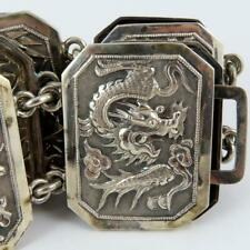 ANTIQUE WANG HING & CO. CHINESE EXPORT DRAGON PRUNIS BAMBOO 90 SILVER BELT