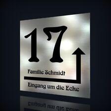 EDELSTAHL HAUSNUMMER TÜRSCHILD NAMENSSCHILD MIT HINWEIS-PFEIL & TEXT NACH WUNSCH