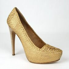 Prada Women's Gold Metallic Leather Woven Platform Heel IT 39.5/US 9.5 1IP063
