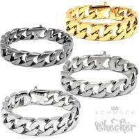 Edelstahl Herren Armband Panzerarmband Armkette XL groß silber matt gold grau