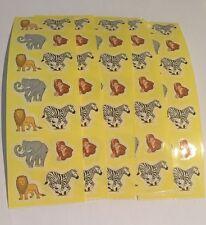 "Sandylion Elephant,Lions, Zebra,Monkey Animal Stickers lot of 4 SHEETS 2"" X 6"""