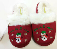 Capelli NY Womens Red Holiday Christmas Let It Snow House Slippers Size 5-6