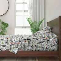 Black And White 420 Marijuana Weed 100% Cotton Sateen Sheet Set by Roostery