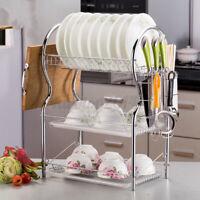 3-Tier Steel Dish Drying Rack Drainer Cutlery Holder Kitchen Storage Space Saver