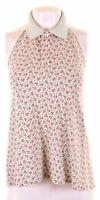 RALPH LAUREN Womens Halter Neck Polo Shirt Size 10 Small Green Floral  CK19