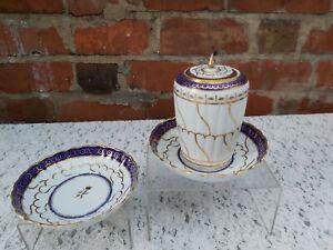 Antique Worcester Flight Barr period Blue Cobalt & gold  Tea Caddy  & saucers