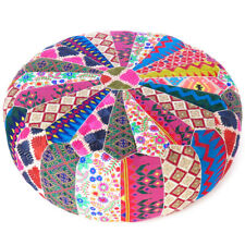 """22 X 8"""" Colorful Round Ottoman Pouf Pouffe Cover Floor Seating Bohemian Accent B"""