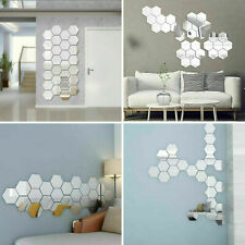 12Pcs 3D Mirror Wall Stickers 8*7*4cm Removable Hexagon Diy Acrylic Room Decor