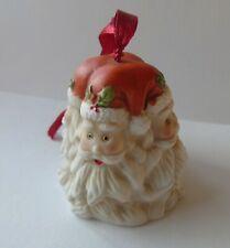 Vintage Ceramic Four Headed Santa Christmas Tree Ornament Bell