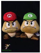 "Nintendo Super Mario 8"" Plush San-ei - Goomba Mario/Luigi hat set"