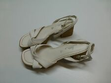 """Fioni Womens 8 White Strappy 2.5"""" Block Heel Shoes Good Condition"""