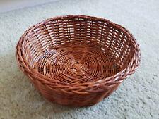 WICKER Woven Small Round Golden Brown Storage Basket Keys Potpourri EXCELLENT