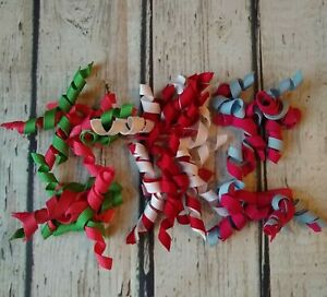 HTF Crazy 8 Girls Curly Barrettes Lot of 3 Pairs Red Green Blue White