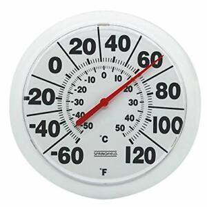 """Springfield 90050 8"""" Indoor/Outdoor Dial Thermometer White"""