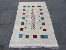 Old Traditional Hand Made Persian Oriental Cream Wool Gabbeh Rug 172x114cm