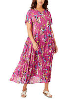 Woman Within Pink Floral Dress Sizes 14/16 18/20 34/36 38/40 SS New