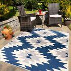 Navy Grey Geometric Tribal Rug Outdoor Garden Patio Summer Washable Runner Mat