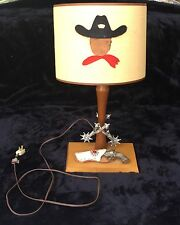 Fun 1950's Hand Made Boyscout Lamp with Toy Gun/Holster and Spur Decor.