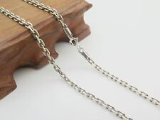 Pure S925 Sterling Silver Men Women 3mm W Rectangle Link Chain Necklace/17.7inch