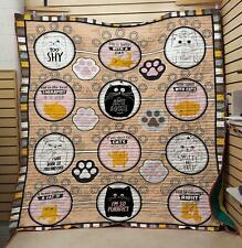 Cat Is Always Right Fleece Blanket, Quilt Blanket Printed in Usa