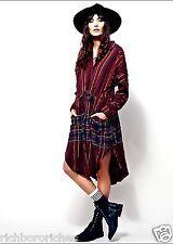 NEW Free People wine black plaid Midi Buttondown Drawstring Tunic Dress Duster L