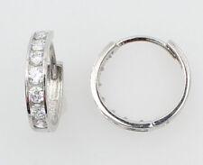 14K White Gold 3mm Thick 7 Stone Set Medium Polished Hoop Huggies Earrings