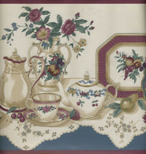 Teapots, Cups and Saucers, Plates,Vases In Blues and Burgundys Wallpaper Border