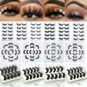 5/10Pairs 3D Mink Fake Eyelashes Long Thick Natural False Eye Lashes Set Makeup