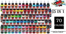 MOMS Tattoo Pigment Super Ink Set of 70 Colors 1/2 oz Bottle Authentic 5 in 1