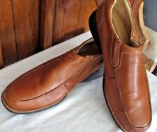 Johnston & and Murphy Men's Penn Moc Leather Tan Rubber Sole Slip On's 12M E9