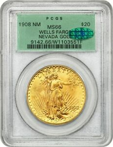 1908 $20 PCGS/CAC MS66 (No Motto, Wells Fargo Nevada Gold Hoard, OGH)