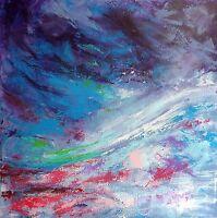 """PEINTURE TABLEAU ABSTRAIT paysage, original signé HZEN """"SAVOIR SE PERDRE"""" 60x60"""