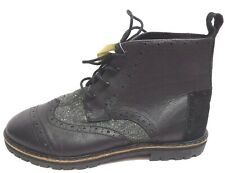 Toms Size 8 Black Leather Brogue  Boots New Mens