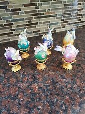 Six Franklin Mint House of Faberge Hummingbird Eggs Figurine with Stands Tfm