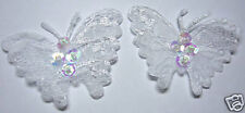 40 White Sequin Beaded Lace Butterfly Sewing Appliques/Trim