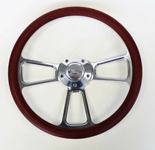 "Bronco F100 F150 F250 F350 Steering Wheel 14"" Burgundy Billet Ford Center Cap"