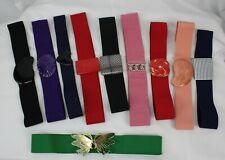 Lot 10 Vtg Stretch Belts 80s Elastic Cinch Buckle Retro Plastic Buckle Enamel M