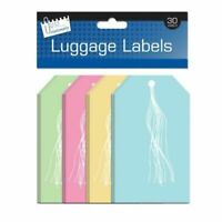 Pack Of 30 Large Coloured Paper Luggage Label Tags Tie On String Travel Bag Ties