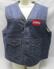 Vintage Doboy Advertising Jean Vest Men's Size XL Denim Jean Faux Sheepskin