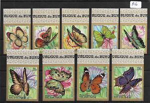 SMT,1968, BURUNDI Butterflies set of nine airmail stamps, imperf, MNH
