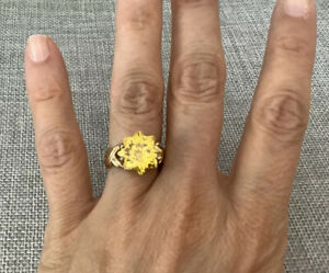 UTC Gold Vermeil Sterling Silver Star Flower Canary Yellow CZ Solitaire Ring 6