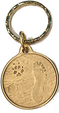 Always By My Side Dog Pet Paw Print Footprint Beach Bronze Seashell Keychain