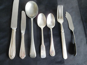 lot of 7 ADVERTISING Flatware silverware hotel plane train M&B Plaza vintage GRW