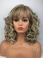 Neu Trend Grau Platinblond Mix Gewellt Perücke Cosplay Mittel Wig  Damen Täglich