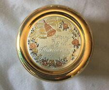 Chokin Happy 25th Anniversary Porcelain Box From Japan 24K Gold Edged New