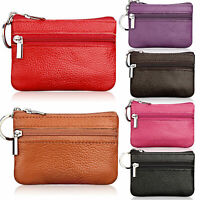 Women Men Genuine Leather Mini Purse Wallet Coin Money Card Key Holder Zip Bag