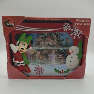 DISNEY Minnie Mouse Christmas Snow Water Globe Photo Frame 4X6 NEW