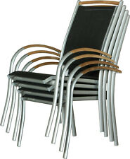 IB-Style® DIPLOMAT 6 fauteuils de jardin alu I chaises empilable I argenté-teck
