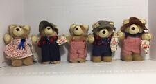 Vintage Furskins Plush Bears Lot Of 5