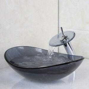 Oval Tempered Glass Bathroom Basin Bowl Vessel Sink Mixer Faucet Pop Drain Set